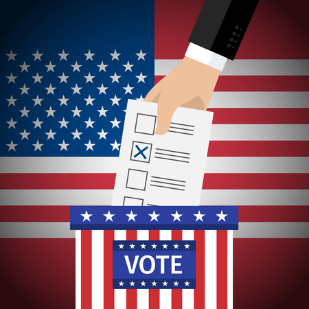 voter registration: Concept of voting. US Presidential election 2016. Hand putting voting paper in the ballot box. Flat design, vector illustration. Illustration