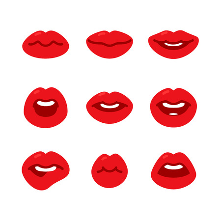 sound bite: Set of flat icons with female red lips gestures. Beautiful lips on a white background. Flat design, vector illustration.