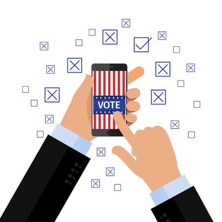 voter registration: Concept of election. Vote concept. Hand holding smartphone with voting app on the screen. Flat design, vector illustration. Illustration