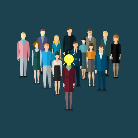 conclusion: Concepto de idea. Mujer de negocios con la bombilla, símbolo de la idea. El reclutamiento o el concepto de selección. Gente de negocios. ilustración vectorial plana Vectores