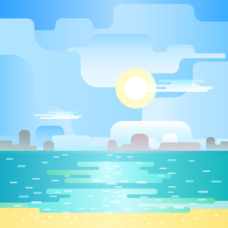Beautiful beach noon seascape. Blue landscape. Beautiful flat landscape. Flat design vector illustration. Illustration