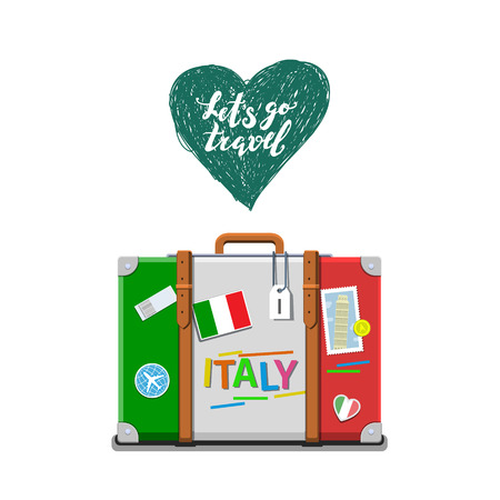 leaning tower of pisa: Concept of travel to Italy or studying Italian. Italian flag on suitcase. Flat design, vector illustration Illustration