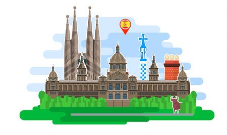 Concept van de reis naar Spanje of Spaans studeren. Spaanse vlag met bezienswaardigheden. Platte ontwerp, vector illustratie