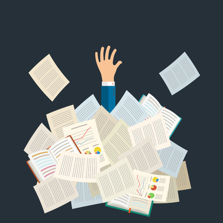 assignment: Concept of studying. Student buried under a pile of books, textbooks and papers. Flat design, vector illustration.
