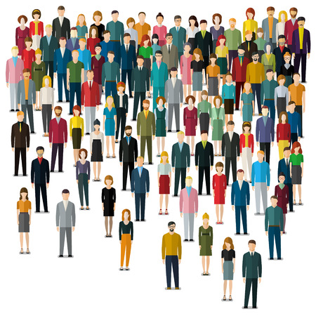 large group of business people: Concept of business people. A large group of people on white background. Flat design. Vector illustration.