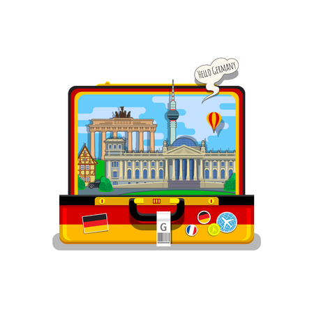 tv tower: Concept of travel to Germany or studying German. German flag with landmarks in open suitcase. Flat design, vector illustration
