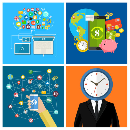 conection: Set of business social media concepts. Businessman with a clock instead of a head. Businessman holding a mobile phone. Flat design, vector illustration.