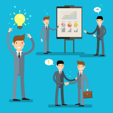 Business set, idea concept. Cartoon businessman making presentation explaining charts on a white board. Flat design, vector illustration.