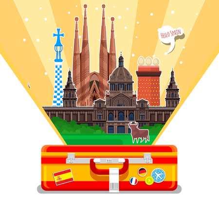 Concept of travel to Spain or studying Spanish. Spanish flag with landmarks in suitcase. Illustration