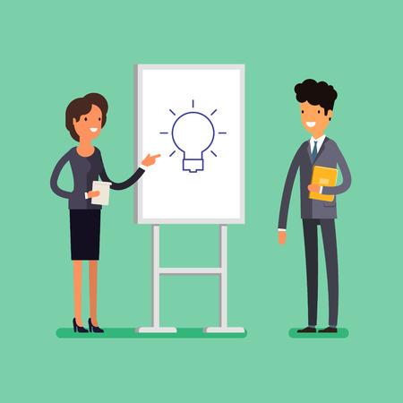 Business concept. Cartoon businesswoman making presentation explaining idea on a white board.