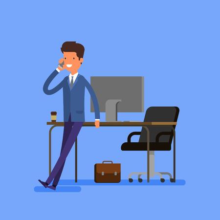 Concetto di affari. Cartoon uomo d'affari è seduto su un tavolo e parlare al telefono cellulare.