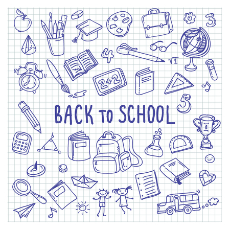 classroom supplies: Back to school. Freehand drawing school items on a sheet of exercise book. Illustration