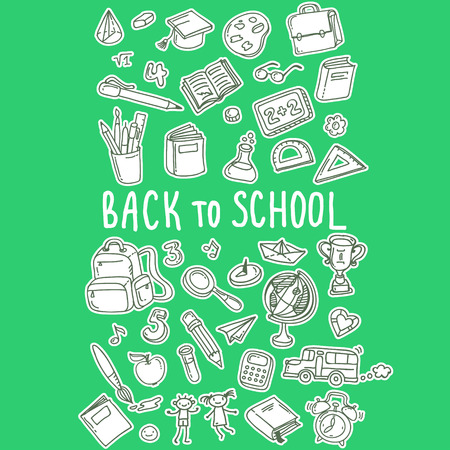 Concept of education. Back to school. Freehand drawing school items on green background. Illustration