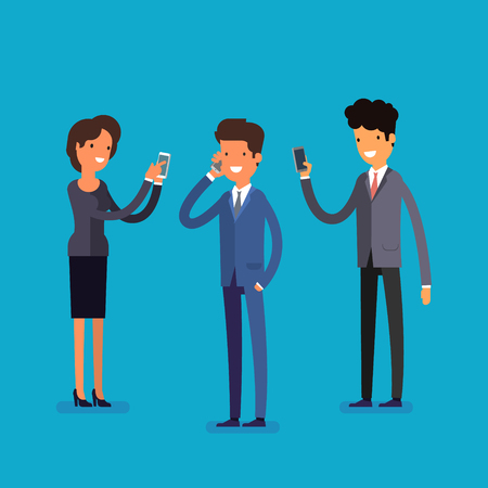 overuse: Business concept. Cartoon business people with mobile phones. Modern lifestyle. Flat design, vector illustration.