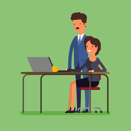 cooperating: Business concept. Cartoon business man and woman working at office. Time to make changes. Flat design, vector illustration.