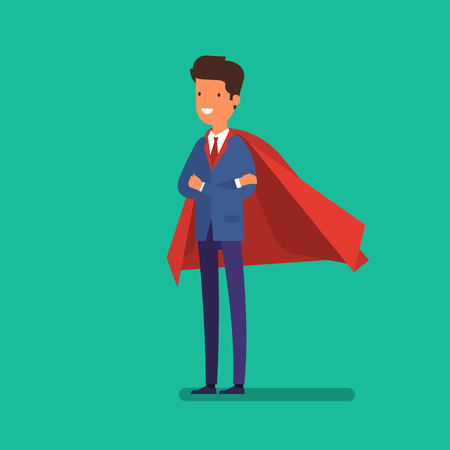 Super Businessman. Cartoon businessman stands with his arms crossed in a cloak of super hero. Business concept illustration.