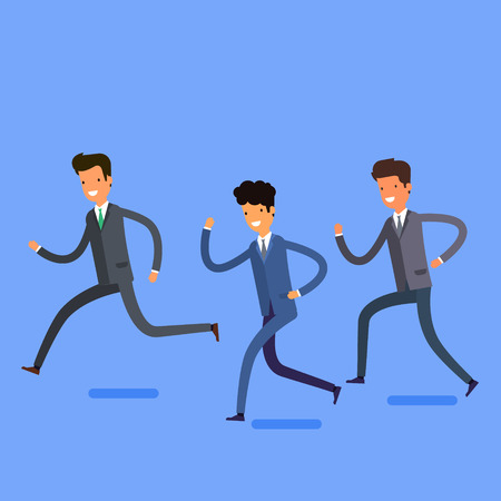 winning team: Business concept in winning and successful team. Cartoon business people running into the same direction with happy and cheerful expression. Flat design, vector illustration.