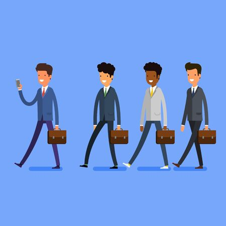 follow the leader: Business concept. People follow the leader with phone. Flat design, vector illustration.