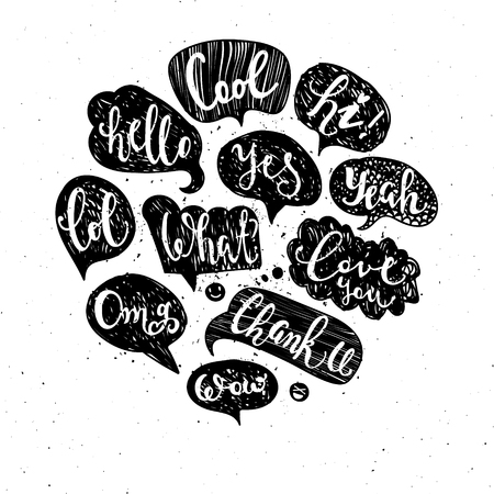 Set of most common used acronyms and abbreviations on hand drawn speech bubbles. Illustration