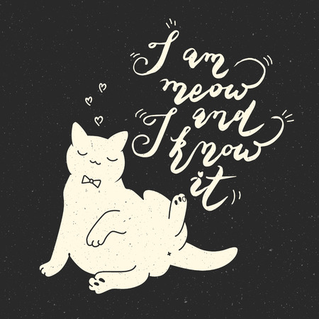 Cat Stock Quote New I Am Meow And I Know It Cat Quote On Black Background Trendy