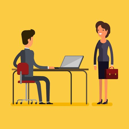 group of young adults: Business concept. Cartoon business man and woman meeting at office. Flat design, vector illustration. Illustration