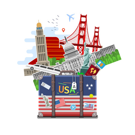Concept of travel or studying English. American flag with landmarks in suitcase. Flat design, vector illustration