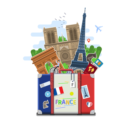 Concept of travel to France or studying French. French flag with landmarks in suitcase. Flat design, vector illustration Illustration