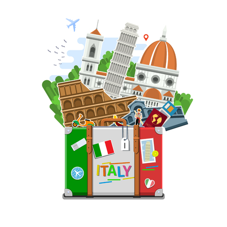 Concept of travel to Italy or studying Italian. Italian flag with landmarks in suitcase. Tourism in Italy. Flat design, vector illustration