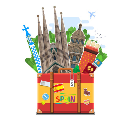 Concept of travel to Spain or studying Spanish. Spanish flag with landmarks in suitcase. Flat design, vector illustration