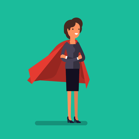 Super Business woman. Cartoon business woman stands with her arms crossed in a cloak of superhero. Business concept illustration.