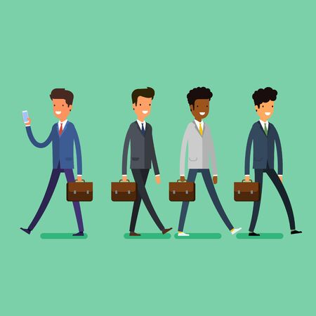 Business concept. People unfollow the leader with phone. Flat design, vector illustration. Illustration