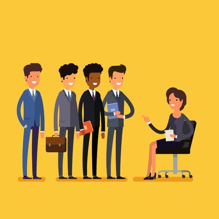 Business job interview concept. Cartoon business man and woman. Flat design, vector illustration. Illustration