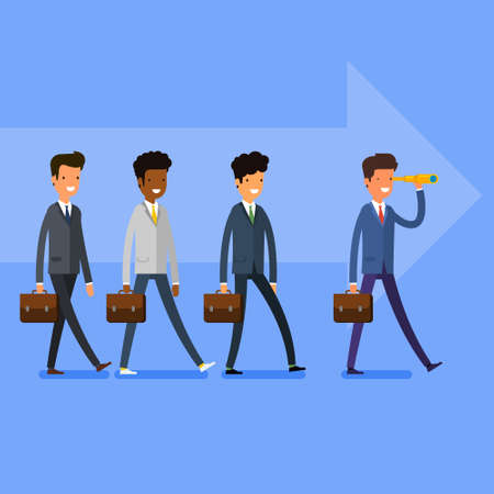 follow the leader: Business concept. Searching for opportunities. People follow the leader. Flat design, vector illustration.
