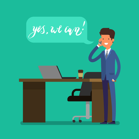 conviction: Business concept. Cartoon business man working at office. Boss speaks on the phone. Flat design, vector illustration. Illustration
