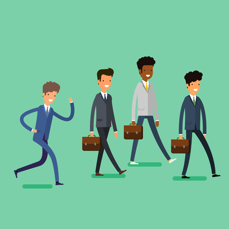 business people walking: Business concept. Cartoon business people walking. Flat design, vector illustration