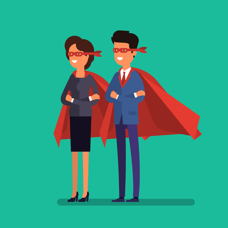 Super Businessman. Cartoon businessman stands with his arms crossed in a cloak of superhero. Business concept illustration.