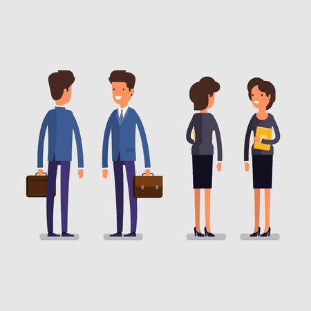 rear view: Business concept. Cartoon business man and woman in standing poses. Office workers, front and rear view. Flat design, vector illustration.
