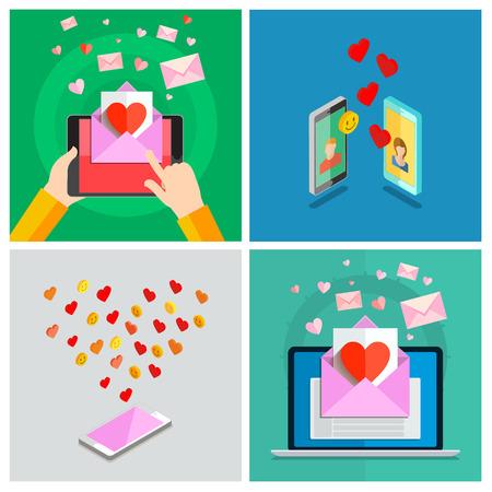 long distance: Love set. Valentines day illustration. Receiving or sending love emails for valentines day, long distance relationship. Flat design, vector illustration Illustration
