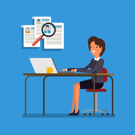 recruit: Business woman choosing person for hiring. Job and staff, human and recruitment, select people, resource and recruit. Flat illustration