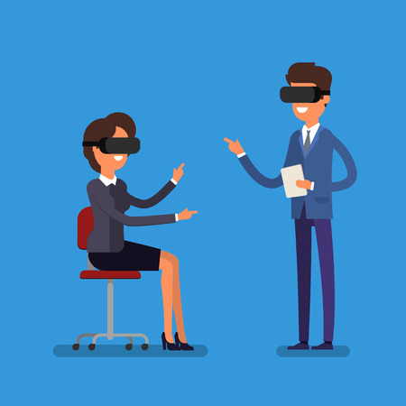 Concept of virtual reality. Cartoon business people using the virtual reality headset. Illustration
