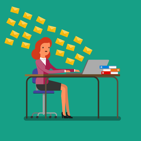 receiving: Concept of communication. Woman receiving tons of messages on laptop. Flat design, vector illustration. Illustration