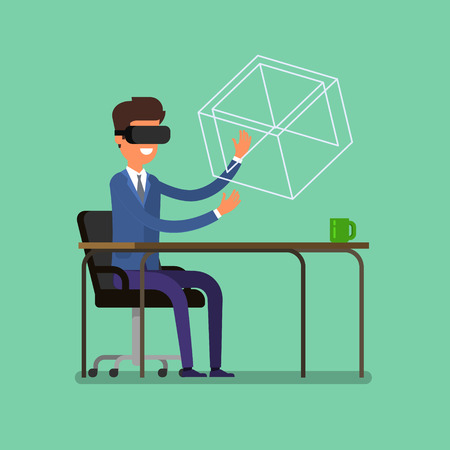 Concept of virtual reality. Cartoon business man using the virtual reality headset. Stock Vector - 64123332