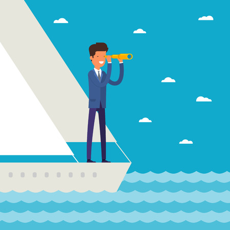 Business leadership and goal concept. Businessman stands in yacht looking through spyglass into future in ocean. Flat design, vector illustration.