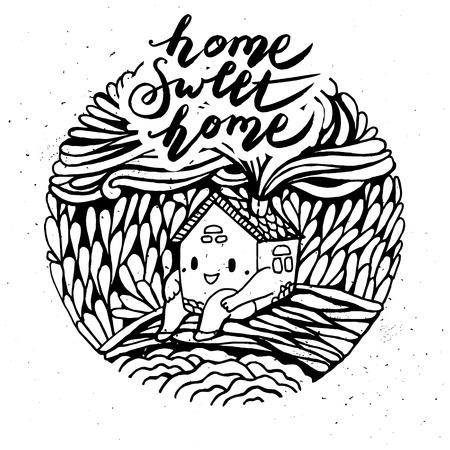 Hand drawn cartoon house. Home sweet home. Modern calligraphy. Illustration