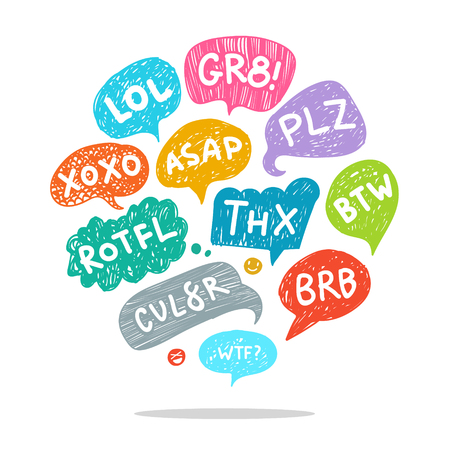 acronyms: Set of most common used acronyms and abbreviations on hand drawn speech bubbles. Illustration
