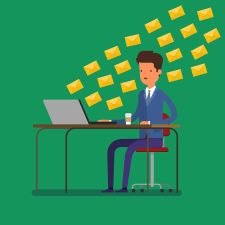 tons: Concept of communication. Man receiving tons of messages on laptop. Flat design, vector illustration.
