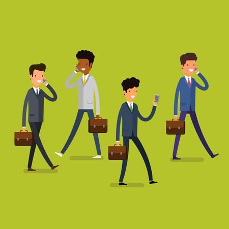 business people walking: Business concept. Cartoon business people walking and talking on the mobile phones. Modern lifestyle. Flat design, vector illustration.