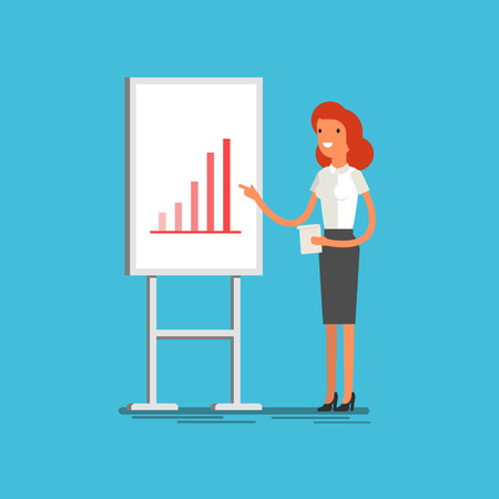 explaining: Business concept. Cartoon business woman making presentation explaining charts on a white board. Flat design, vector illustration.