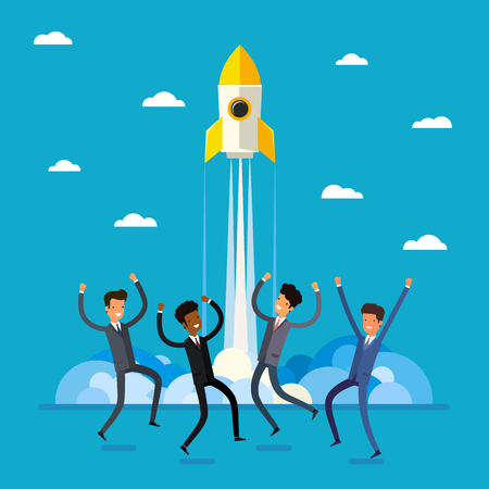 Concept of startup. Cartoon happy business people jumping and rocket launch. Flat design, vector illustration.