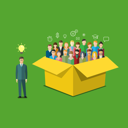 Concept of Thinking outside the box. Businessman is outside the box with people. Flat design vector illustration.